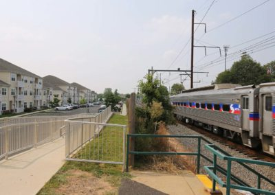 Warminster Train Station in front of The Station at Bucks County