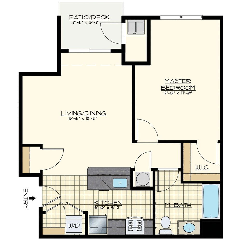 Station at Bucks One Bedroom Floor Plan Golden Spike