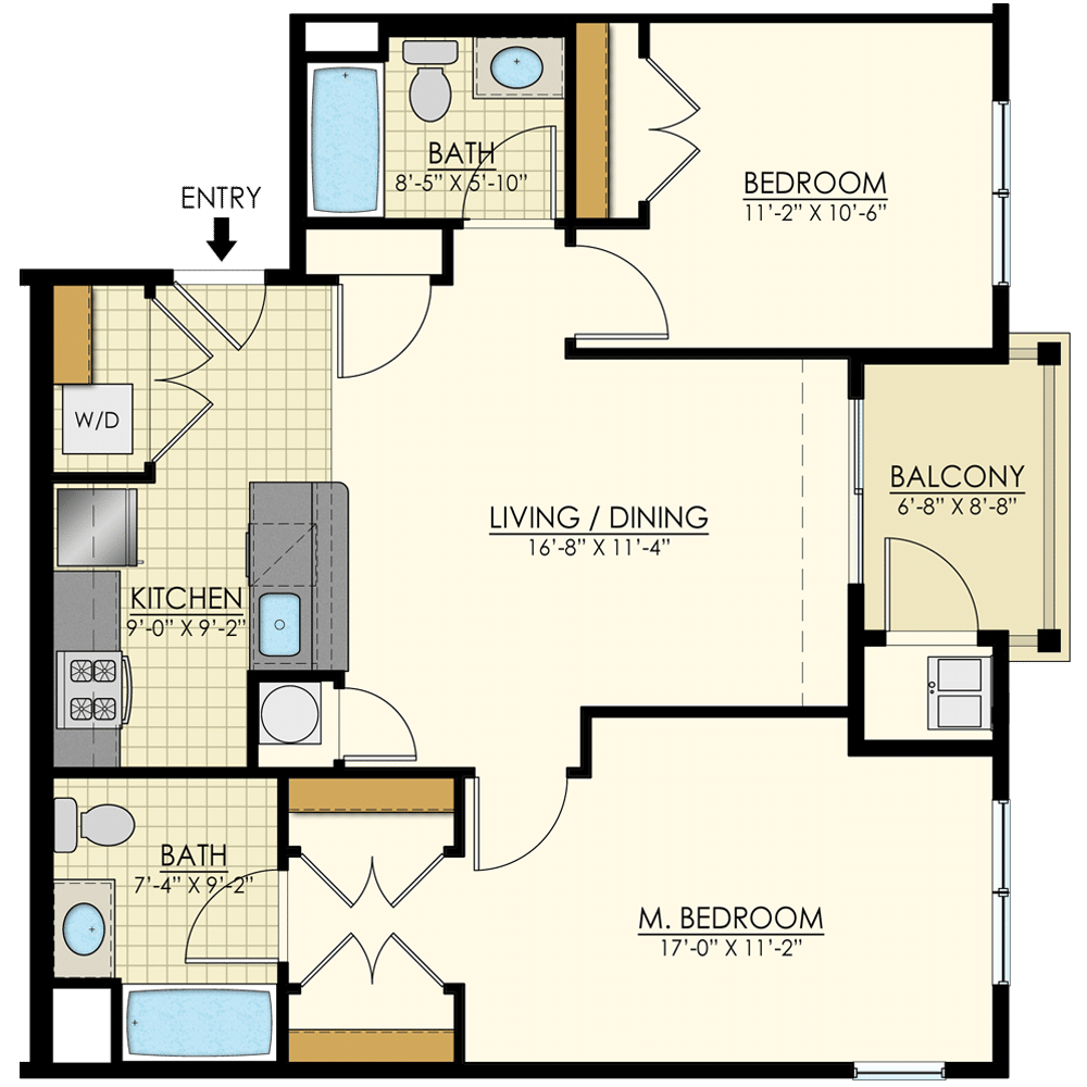 Station at Bucks Two Bedroom Floor Plans